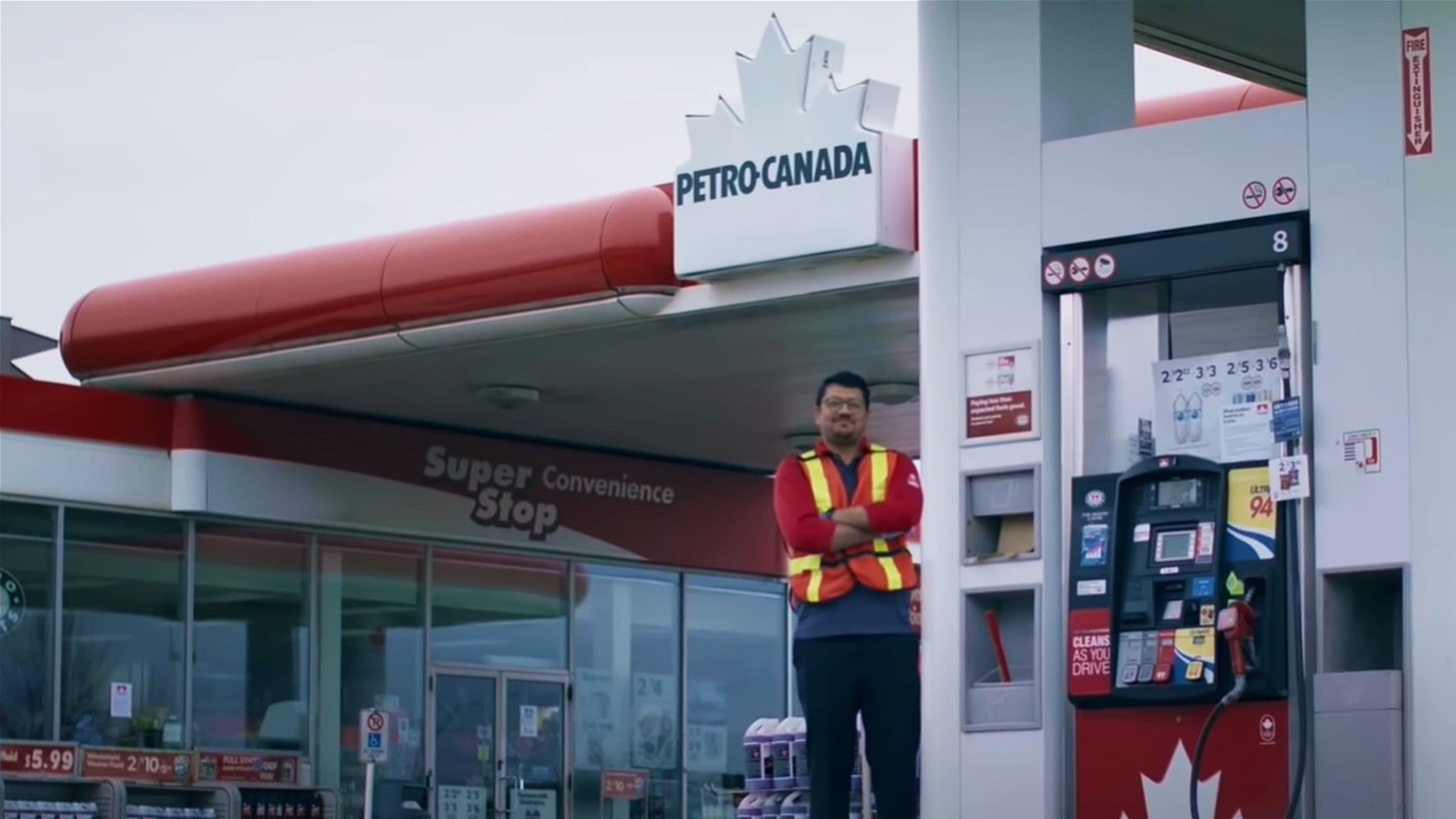 Screen capture from commercial, a frontline worker at a Petro-Canada.