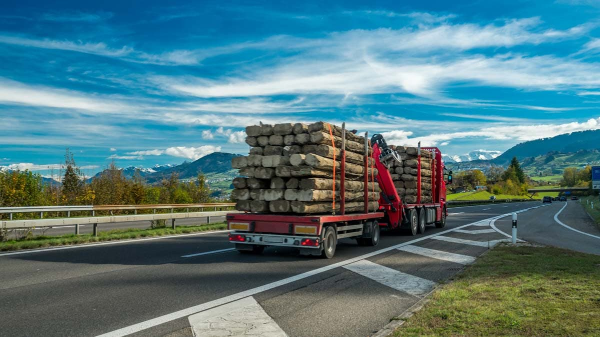 A truck transporting a load of logs