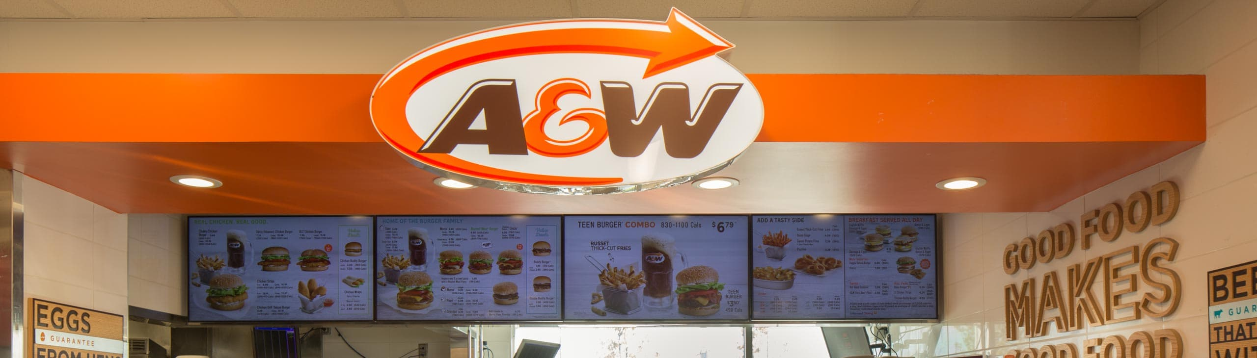 The counter and menu at an A&W location