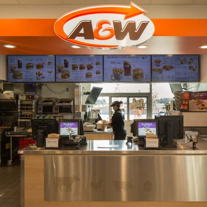 The counter at one of our A&W locations