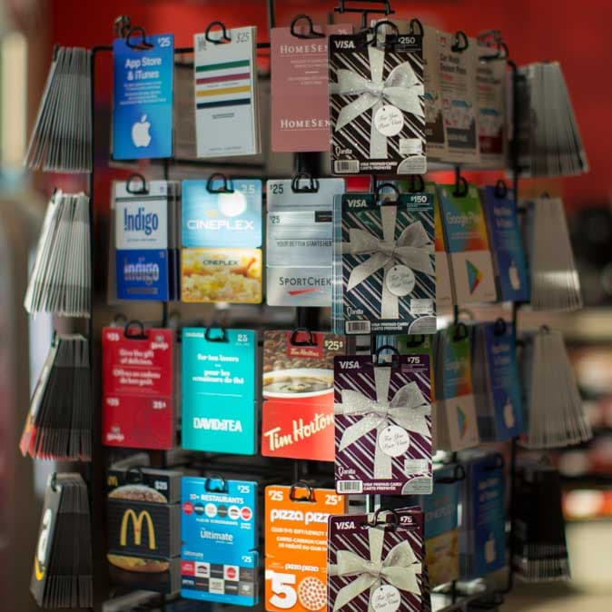 A rotating display of gift cards