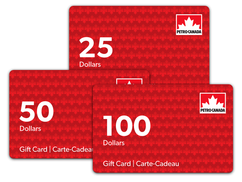 Three denominations of Petro-Canada gift card