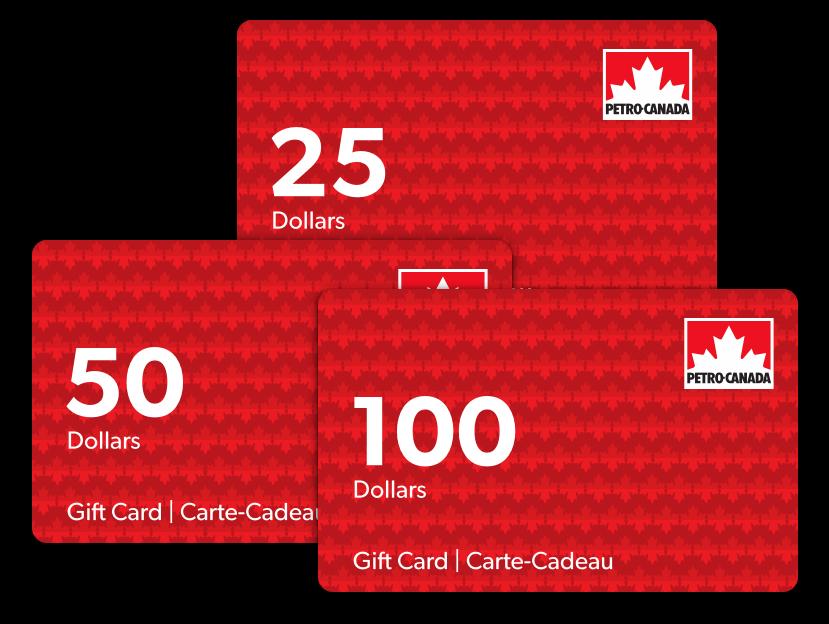 Three denominations of Petro-Canada gift card