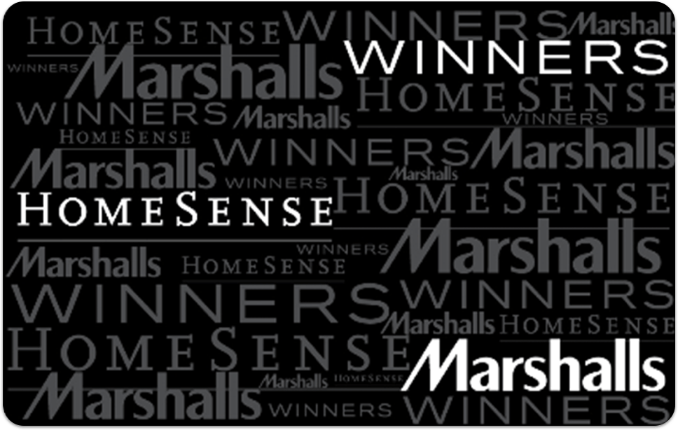 Winners gift card, HomeSense gift card, Marshalls gift card
