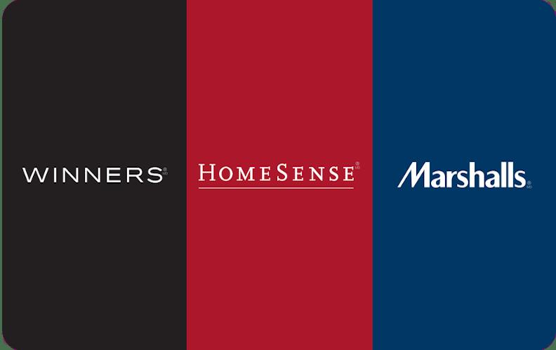 Winners gift card, HomeSense gift card, Marshalls gift card